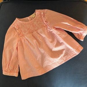 J Crew crewcuts pink striped smocked top 2